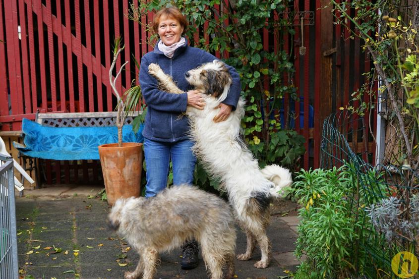 Ute Hoffmann mit ihren Hunden